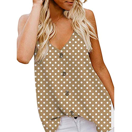 Karamoda-Dress Women Button V Neck Strappy Print Tank Top Loose Cool Casual Sleeveless Shirts ()