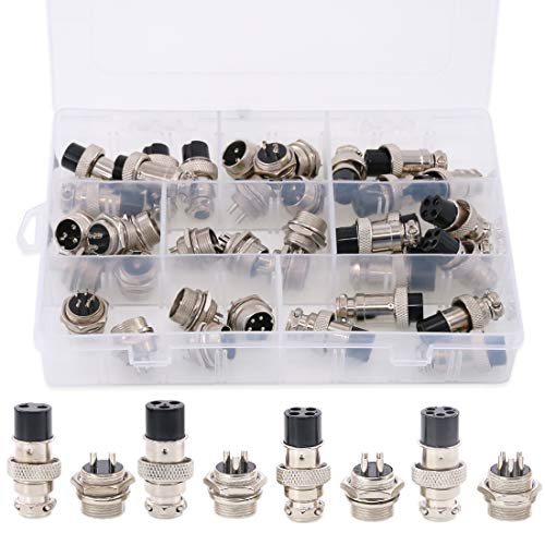 Hilitchi 40-Pieces 2 3 4 5 Pin 16mm Thread Male Female Panel Metal Aviation Wire Wire Connector Plug Assortment Kit (2 Pin / 3 Pin / 4 Pin / 5Pin) ()