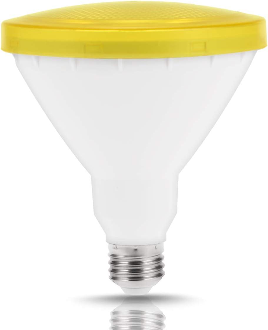 JandCase Par38 Yellow LED Bug Light Bulb, E26 Base, 10W Flood Light Bulb, Not Dimmable, 110V-240V, Indoor/Outdoor Lighting for Home Decor, Porch, Backyard and Patio Lighting, 1 Pack