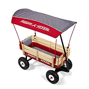 Radio Flyer Build-A-Wagon Steel & Wood - Air Tires, Canopy, Seat Pads, Luxe Fashion