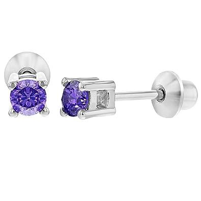 99480e2068d6 In Season Jewelry - 925 Plata de Ley Circonita Morada Redonda Aretes  Pequeños con Cierre de Rosca para Niñas 3mm  Amazon.es  Joyería