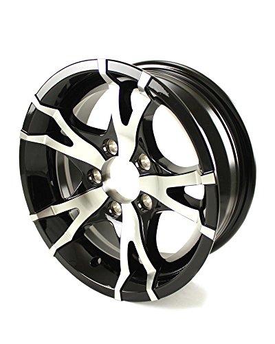 (14 x 5.5 Sendel T07 Black Machined Aluminum Trailer Wheel 5x4.5 Bolt Pattern)
