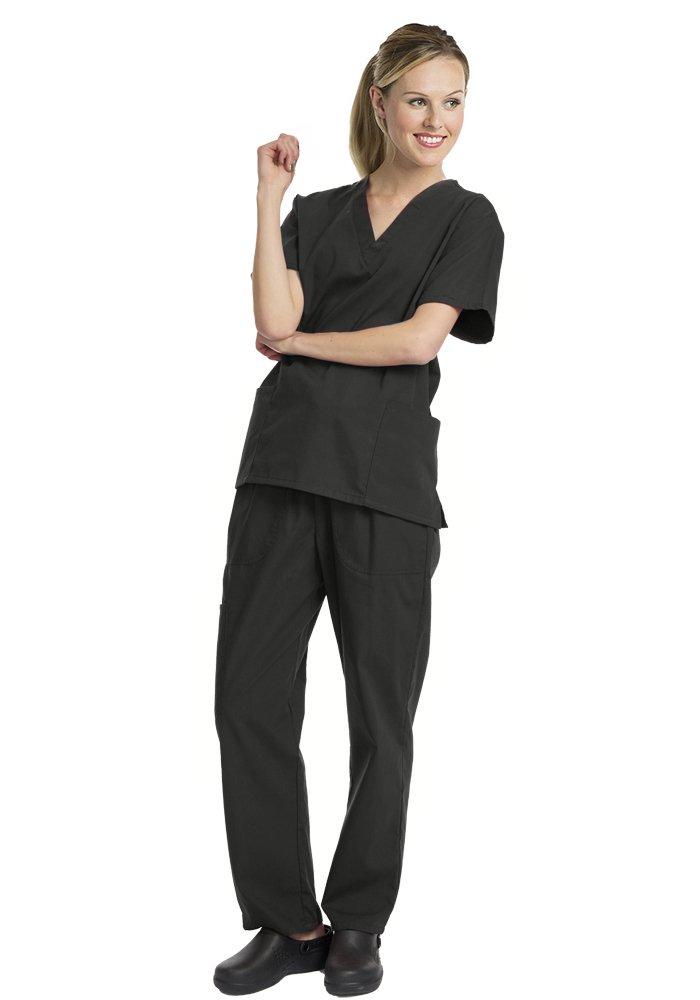 Deluxe 4pk Medical Scrubs for Women Nurse Uniform Set Solid V-Neck, Black, X Large