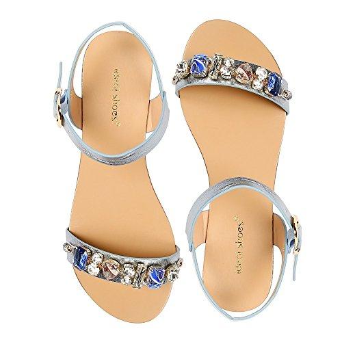 Ideal Shoes Sandalen Flache Glitterlack mit Riemen Verziert Strass Vaea Blau