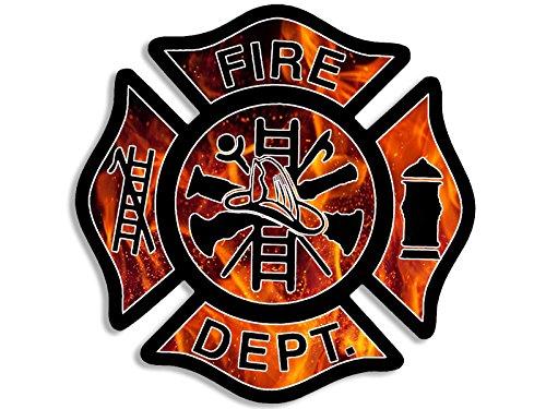American Vinyl Flames BG Fire Dept Maltese Cross Shaped Sticker (Firefighter Fireman) ()