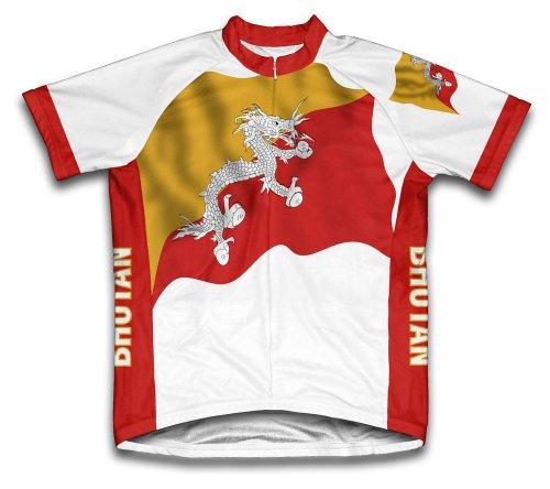Scudo Bhutan Flag Short Sleeve Cycling Jersey for Women -...