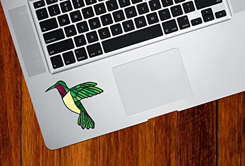 "Ruby Throated Hummingbird Stained Glass Style Vinyl Decal for Laptop | Macbook | Trackpad | Tablet - Copyright 2016 YYDC (SIZE AND COLOR CHOICES) (SMALL 3.5""w x 3""h) (Ruby Throated)"