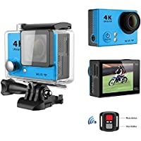 Sport Camera, TONSEE Waterproof H2R Super Slim Ultra HD 4K Video Sport Camera Remote Control, Blue