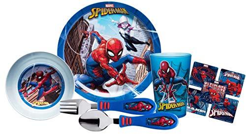 (Zak! Designs Kids Mealtime Set Includes Plate, Bowl, Tumbler Cup, Fork & Spoon Flatware Set! Featuring Spider Man Graphics! BPA-free, 5 Pc Set. Plus Bonus Spiderman Stickers!)
