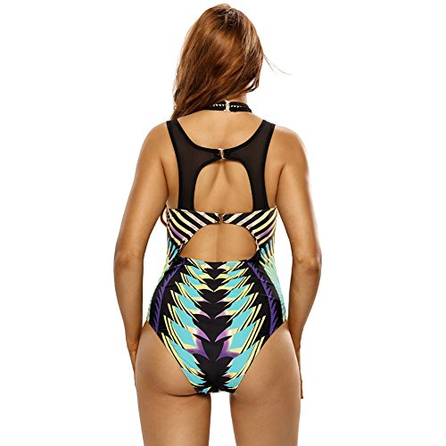 Erica Playa de las mujeres una pieza bikinis traje de baño abierto trasero de impresión de cuello alto Underwire acolchado Bra traje de baño as figure