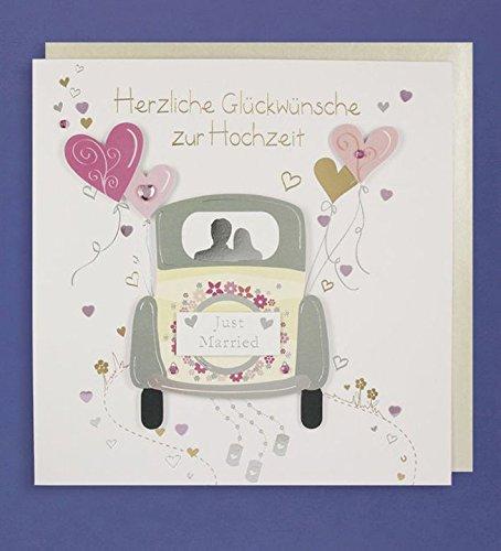 Hochzeit Gru/ßkarte Handmade Applikation Gl/ückw/ünsche Just Married Hochzeit auto mit Herzen 21x21cm