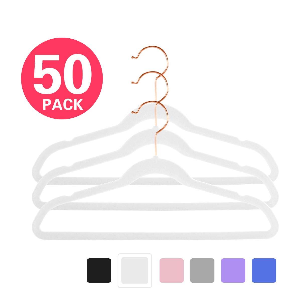 MIZGI Premium Kids Velvet Hangers (Pack of 50) 14'' Wide with Copper/Rose Gold Hooks,Space Saving Ultrathin,Nonslip Hangers use for Petite Junior Children's Skirt Dress Pants,Clothes Hangers-White