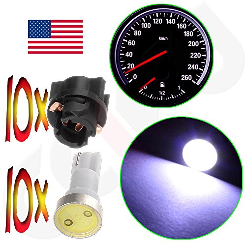 CCIYU 10x White T5 Twist Socket PC74 Instrument Panel Cluster Dash Light Bulb 37 73 17 T5 Led Bulbs For Dashboard Gauge Light (Mitsubishi Galant 2003 Dashboard compare prices)