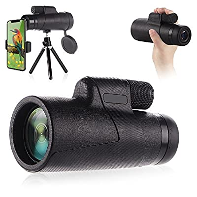 Monocular Telescopes, 10x42 Dual Focus Waterproof Spotting Scopes, Low Night Vision with Phone Clip and Tripod for Cell Phone-for Bird Watching, Hunting, Camping, Hiking, Outdoor, Surveillance