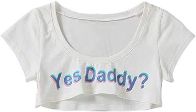 Camisetas Sin Mangas Mujer SHOBDW Verano Playa Mar Sexy Cuello Redondo Moda Blusa Estampada Carta Manga Corta Ajustado Mini Camisa Casual Top para Mujer(Blanco): Amazon.es: Ropa y accesorios