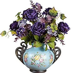Sunlightam Artificial Flowers, Fake Flowers Silk Artificial Roses 9 Heads Bridal Wedding Bouquet for Home Garden Party Wedding Decoration (Dark Purple) 115
