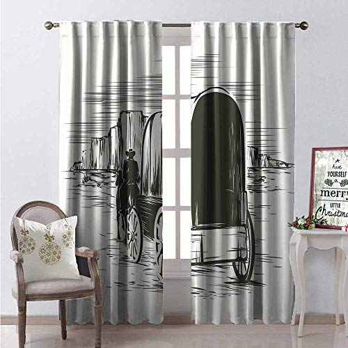 (Hengshu Western Blackout Window Curtain Old Traditional Wagon Wild West Prairies Pioneer on Horse Transportation Cart Customized Curtains W108 x L84 Black and White )