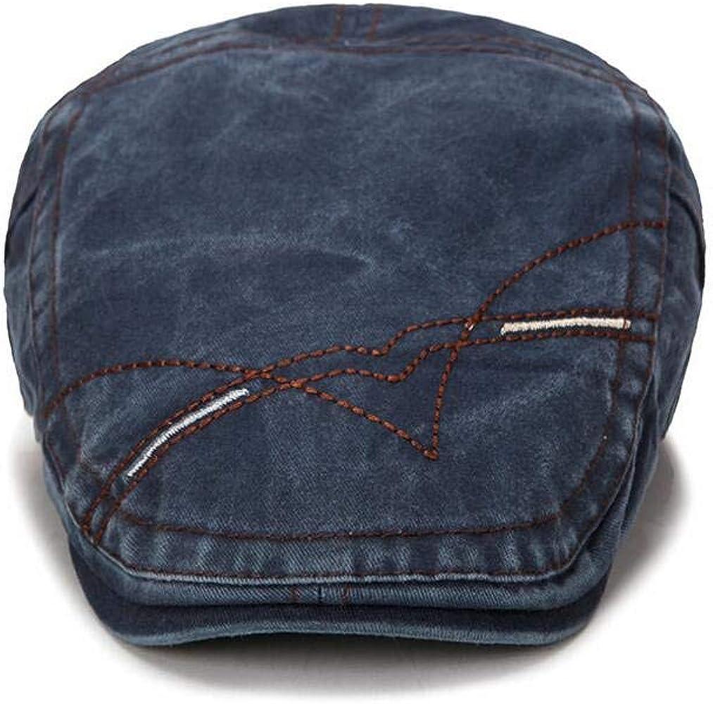 XibeiTrade Men Denim Cotton Adjustable Newsboy Beret Ivy Cap Cabbie Flat Cap