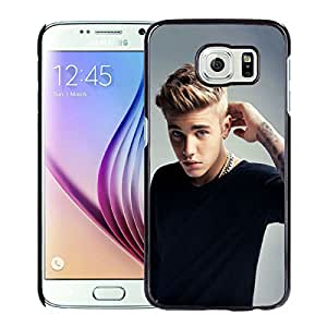 Fashionable Custom Designed Cover Case For Samsung Galaxy S6 With Justin Bieber Black Phone Case