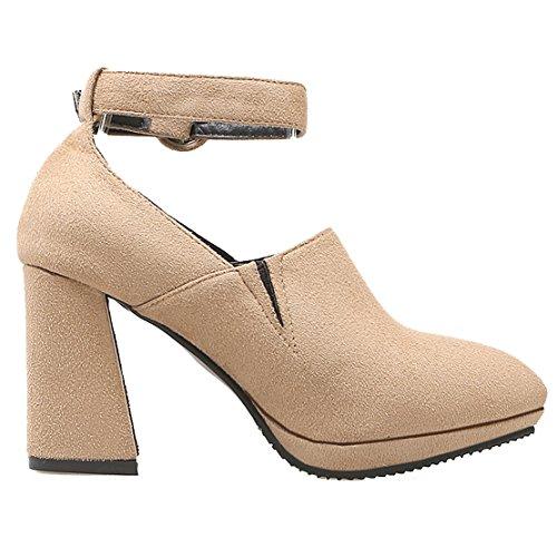 AIYOUMEI Damen Spitz Wildleder Blockabsatz Pumps mit Schnalle und 9cm Absatz Modern Schuhe Aprikose