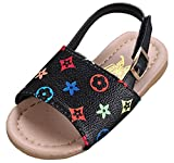 VECJUNIA Girl's PU Flat Sandals Slingback Buckle Open Toe Prints Water Shoes (Black Floral, 11.5 M US Little Kid)