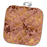 3dRose Uta Naumann Faux Glitter Pattern - Luxury Shiny Elegant Rose Gold Floral Flower Copper Damask Pattern - 8x8 Potholder (phl_272877_1)