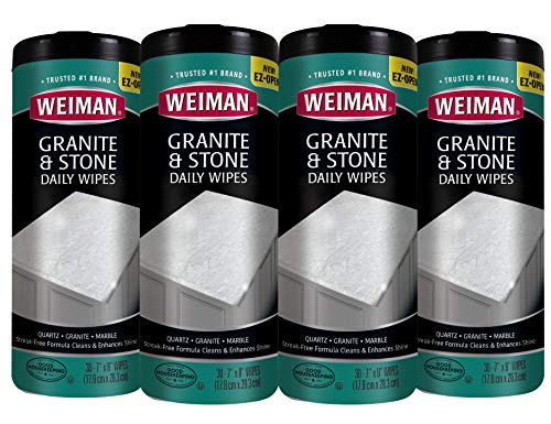 Weiman Granite Wipes - 4 Pack(120 Wipes Total) - Non-Toxic Clean Brighten and Protects Solid Sealed Stone Surfaces Marble Quartz Counter Top Floor- 30 Count Each