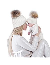 Chinatera Parent-child Hats Winter Soft Warm Knitted Cap Mom Baby Beanie Hat Ski Cap