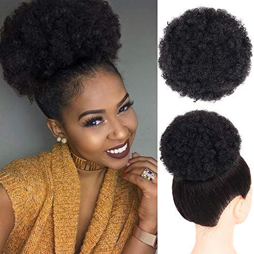 - Afro Puff Drawstring Ponytail Synthetic Short Kinky Curly Wig Black Ponytail for Natural Hair Afro Buns Wrap Updo Hair Extensions with 2 Clips (Color:1b)