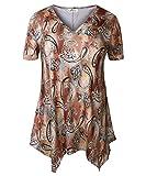 ZERDOCEAN Women Plus Size Printed Short Sleeves Tunic Tops Flowy T Shirt Style-001 2X