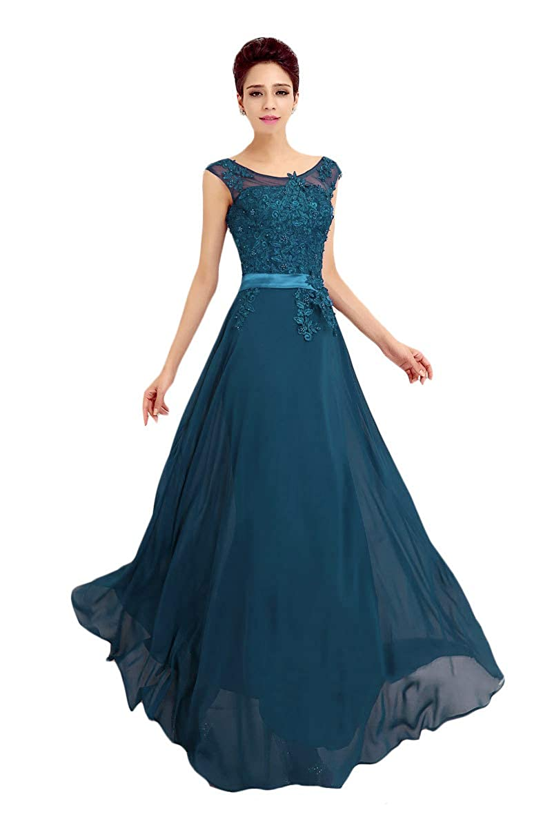 Lake bluee Baixia Womens Formal Lace Applique Straps Long Evening Prom Dresses Ball Gowns