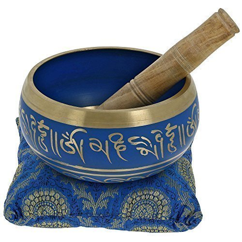 Tibetan Meditation Om Mani Singing Bowl / Cushion / Mallet (4 Inch, BLUE )
