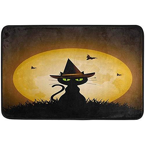 ha-fullshop Cartoon Cat Moon Bat Halloween Doormat Indoor