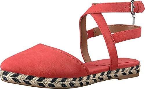 Coach Womens Ozzie Suede Pointed Toe Casual Ankle Strap Sandals Deep Coral Lux Suede