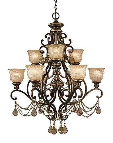 Crystorama 7509-BU-GT-MWP, Norwalk Crystal 2 Tier Chandelier Lighting, 9 Light, 540 Watts, Bronze
