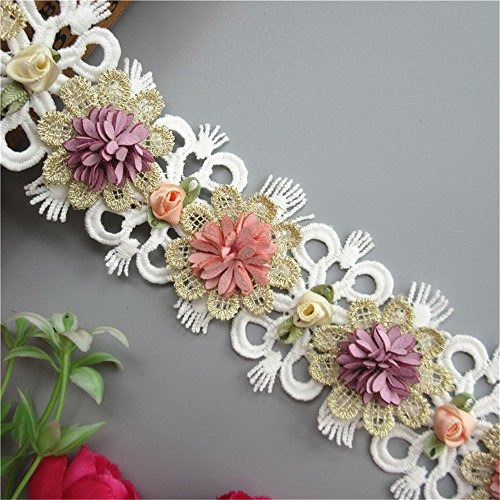 1 Meter Colorful 3D Flower Lace Edge Trim Ribbon 6cm Width Vintage Style White Edging Trimmings Fabric Embroidered Applique Sewing Craft Wedding Bridal Dress Party Headdress Clothes Decoration ()