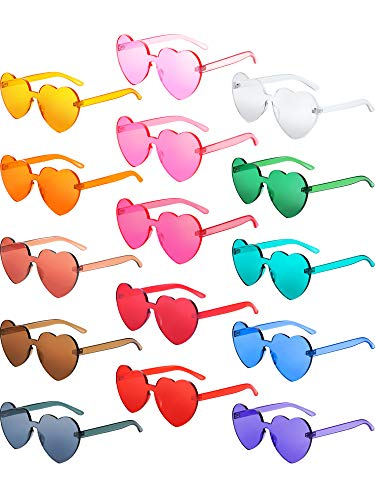 Gejoy Heart Shaped Love Rimless Sunglasses One Piece Transparent Candy Color Frameless Glasses Tinted Eyewear (15 Pairs Color H) -