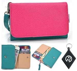 Teal Pink Wallet Phone Cover Wristlet Clutch Case Fits Intex Aqua 3.2 + NuVur 153; Keychain  ESAMMTGM 