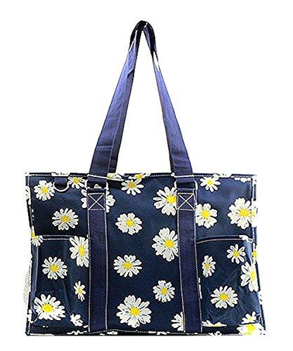 Mini Top Zip Mini Bag - N Gil All Purpose Organizer Medium Utility Tote Bag (Daisy Navy Blue)