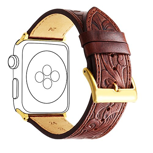 Apple Watch Retro Carved Leather Bands, Ezzdo Handmade Bump Genuine Leather Replacement Strap For Men Women Brown Bracelet For Iwatch 38mm 42mm Series 1 / 2 / 3 (Red Brown (Womans Dynasty Watch)