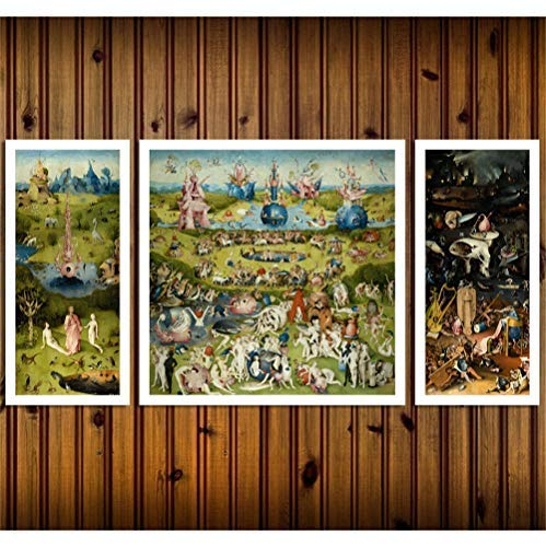 Artwu Hieronymus Bosch's, Garden of Earthly Delights 3PCS Wall Art Home Wall Decorations for Bedroom Living Room Oil Paintings Canvas Prints-894 (Unframed) (Hieronymus Bosch Garden Of Earthly Delights Canvas)