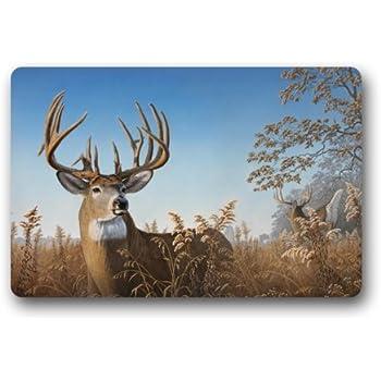 Top Fabric & Non-Slip Rubber Indoor/Outdoor Doormat Door Mats - Deer Buck Art Under The Blue Sky Animal Floor Mat Rug for Home/Office/Bedroom