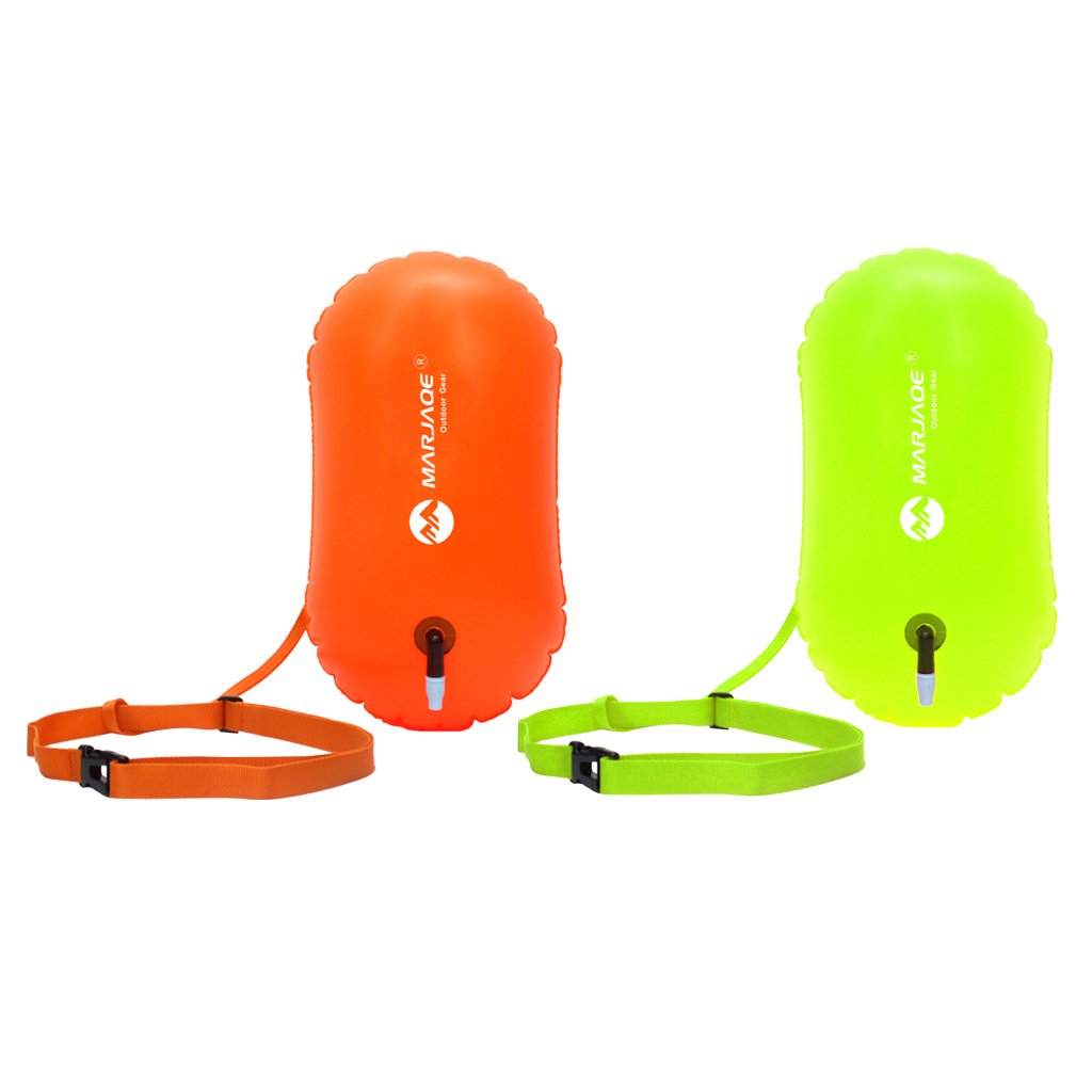 Baosity 2Pcs Waterproof PVC Swim Buoy Tow Float Air Bag Inflatable Swimming Bag with Waist Belt - Lightweight & Highly Visible by Baosity (Image #1)