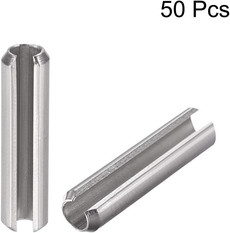 uxcell Slotted Spring Pin M2.5 x 20mm 304 Stainless Steel Split Spring Roll Dowel Pins Plain Finish 50Pcs
