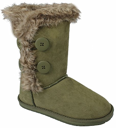 Shearling Faux Olive Fur Women Wooden 18 Winter Lined Calf Amy Button Mid Boots xCYxqwO14