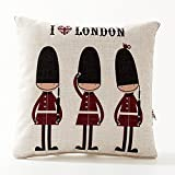 A.B Crew Creative British Style 2 in 1 Cotton Linen Pillow Quilt Blanket Lumbar Supports Throw Pillow Back Cushion(British Guard)