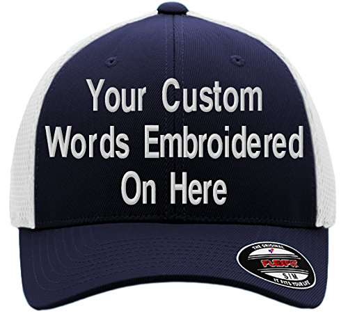Custom Fiber - Custom Hat Flexfit Ultrafiber Mesh 6533 Embroidered. Your Own Text Curved Bill (L/XL Ultra Fiber Mesh Back 6533, Navy/White Fiber Mesh)