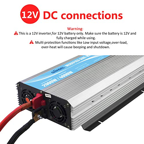 GIANDEL 2000W Power Inverter 12V DC to 110V 120V AC with Remote Control and LED Display Dual AC Outlets & USB Port for RV Truck Boat by Giandel (Image #3)