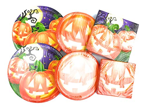 Halloween Paper Plates and Napkins Sets - Durable and Very Cute Sets of Halloween Plates and Napkins - Multiple Themes - 64 Total Pieces Per Set - Great Value (Happy Pumpkin)