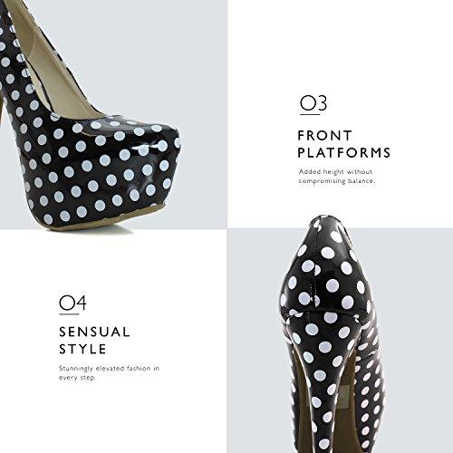 Dot Platform Pointed Pump Extreme White High Women's Polka Leather Stiletto Black Patent Shoes Fashion High Heel Hidden Toe Sexy qaHwYHB